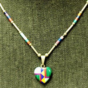 Clay and Sterling Silver Heart Necklace